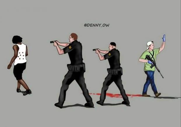 Police firing guns