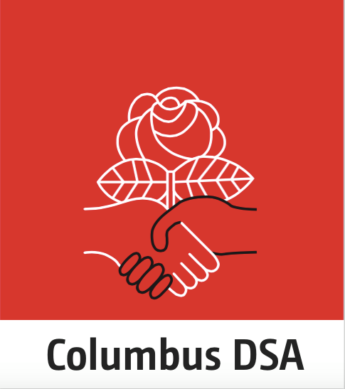 Red background with a black and white hand shaking and a white rose with the words Columbus DSA below
