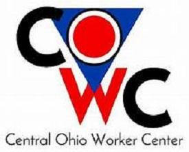 Logo of Central Ohio Worker Center with large COWC with red and black letters and the O in a blue triangle