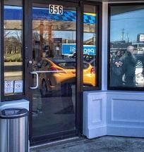 Storefront with number 656 above door