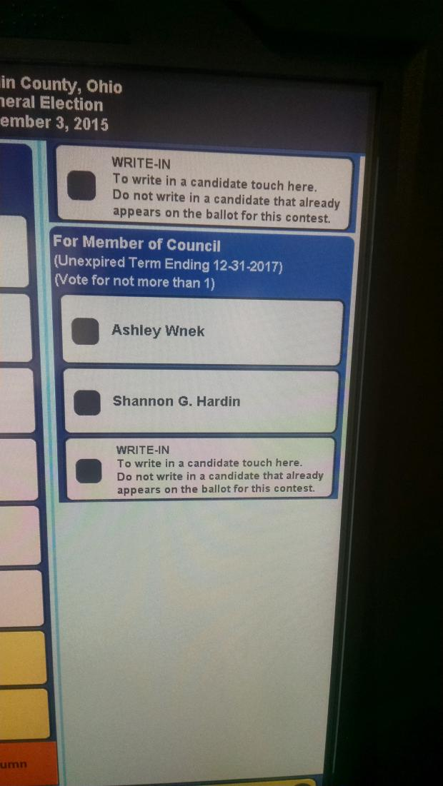 Screenshot of ballot