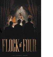Book cover with words in tall gold letters Flock of Four and above the back silhouette of four people looking at a stage with a woman on the stage and curtains pulled back on both sides