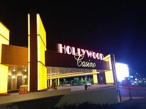 The outside doorway of a Hollywood casino
