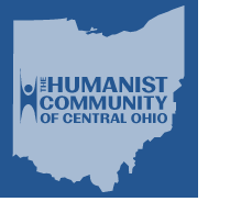 Blue silhouette of the state of Ohio with words Humanist Community of Central Ohio and a drawing of a person