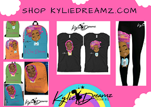 Clothes with picture of young black girl on them with words Shop KylieDreamz
