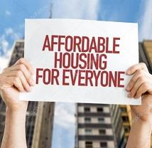 Drawing of two hands holding up a sign saying Affordable Housing for Everyone and a big building in the background