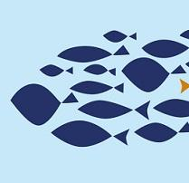 Simple drawing of blue fish swimming to the left