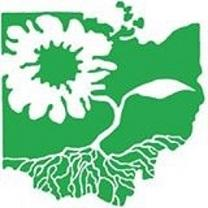 Green symbol of the shape of the state of Ohio with a white flower design inside