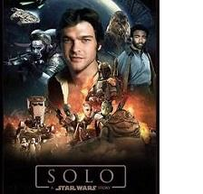 Movie poster for movie Solo with brown haired guy head and shoulders in the middle and lots of scenes of science fiction around him