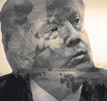 Black and white photo of older white man's (Donald Trump) face close up and in the background of his face there are children and people walking like depicting immigrants