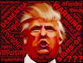 Cartoonish face of Trump with orange skin and pursed lips next to words Warning anxious dismissive inflexible and more