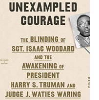 Book cover with words Unexampled courage and a black man's face