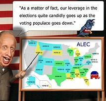 "Character of man with pointing stick pointing at a map of the US on a board and the words above ""As a matter of fact, our leverage in the elections quite candidly goes up as the voting populace goes down"