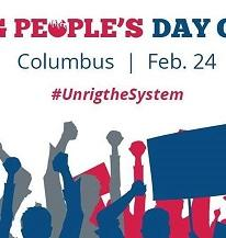 Silhouette drawings of blue and red and gray people in the fore ground with fists in the air and words People's Day and Columbus Feb 24 #unrigthesystem