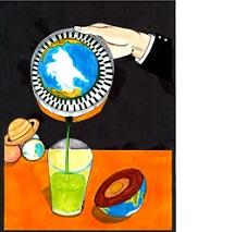 A hand with like an orange squeezer with the Earth inside pouring a liquid out of it in to a cup on a table, the other half of the world lying on the table and off to the left on the table are Saturn and two other planets