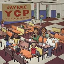 Cartoon with people sitting in a classroom and sign saying Jayare YCP Youth Culture Power