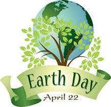 A drawing of the Planet Earth with a tree in front and a banner with the words earth day and April 22