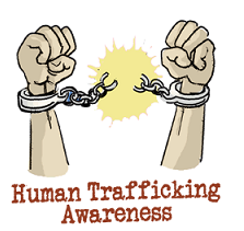 A drawing of two arms up in the air with fists where there are handcuffs being broken in two, a yellow burst of color where the handcuffs broke, and the words in red below, Human Trafficking Awareness