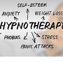 Word Hypnotherapy and arrows from it pointing to words self esteem, weight loss, phobias, stress, panic attacks, anxiety