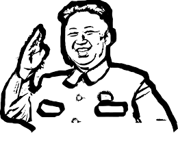Black and white sketch of heavy set Asian man with hair only on top of head, shaved on the sides and he's smiling and saluting