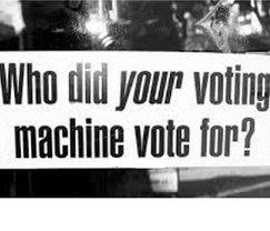 Banner that says Who Did your voting machine vote for?