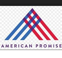 Blue and red lines put together in an upside down V and the words American Promise