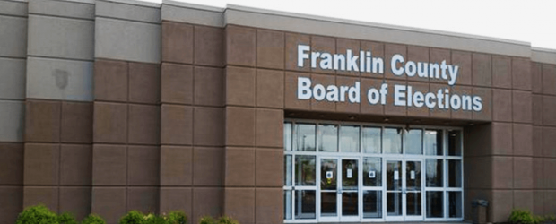 Big building with words Franklin County Board of Elections with glass doors
