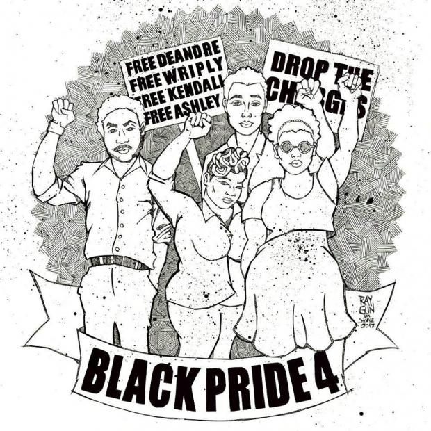 spoken word open mic night to support the blackpride4 Jake Dalton black and white drawing of four black activists and signs that say drop the charges and