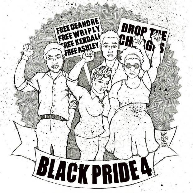 Black and white drawing of four people holding their fists up with signs that say Black Pride 4