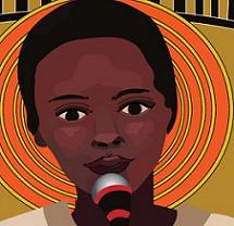 Drawing of black woman's head talking into a mic