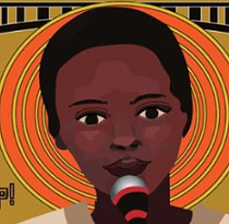 Drawing of black woman's face at a mic