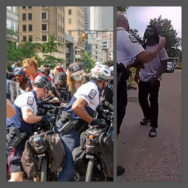 Two pictures one of cops and protesters, one of a cop getting ready to punch a guy