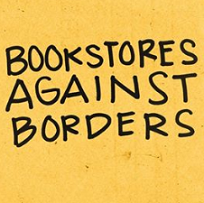 Yellow background and handwriting script saying Bookstores Against Borders