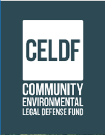 CELDF and words Community Environmental Legal Defense Fund in white letters on blue background