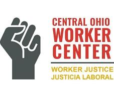 Drawing of a fist and words Central Ohio Worker Center