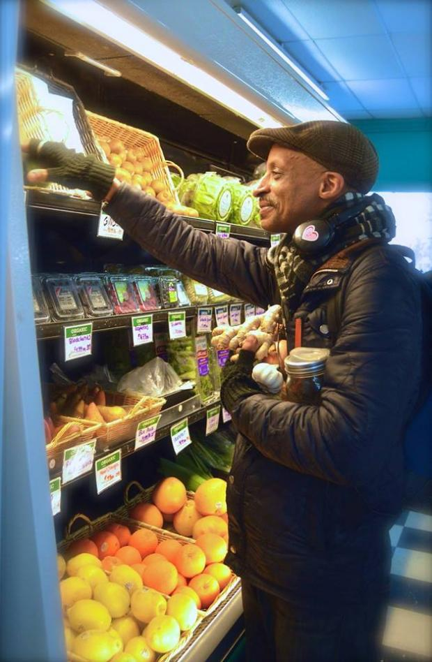 Guy shopping at Co-op