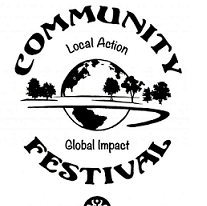 Words Community Festival and Local Action Global Impact in circles around a world and some trees
