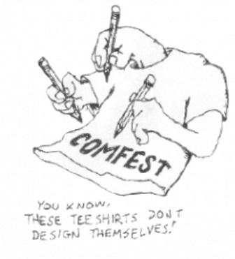 A T-shirt drawing on itself with words Comfest on it