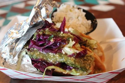 Vegan Tacos, Hominy Thai Tofu, taco with jicama cabbage slaw, red cabbage and salsa verde with a side of cilantro lime rice.