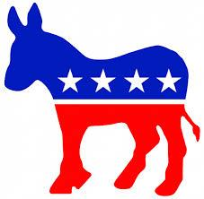 Red white and blue donkey Democrat symbol