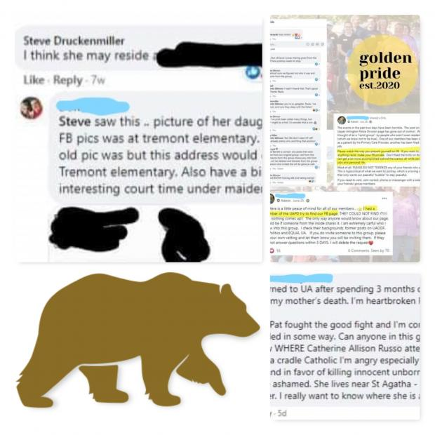Collage of FB messages and golden bear logo