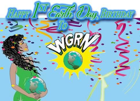 Women with the earth in her hands and words Happy 1st Earth Day Birthday WGRN