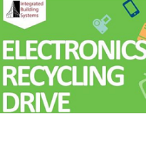 Green background and words Electronics Recycling Drive