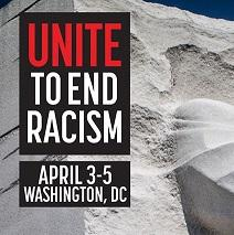 Words Unite to End Racism April 3-5 washingtonn DC against a stone wall background