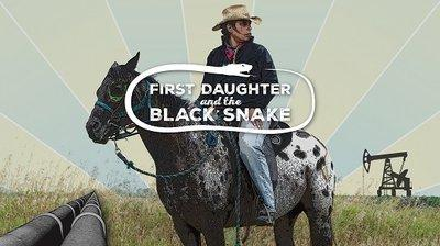 Cowby looking man in a wide brimmed beige hat on a horse with white background and black spots on its rear and the words First Daughter and the Black Snake