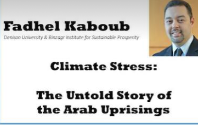 The Word Kaboub and half of a man's face, the words Climate Stress and the words The Untold Story of the Arab Uprisings