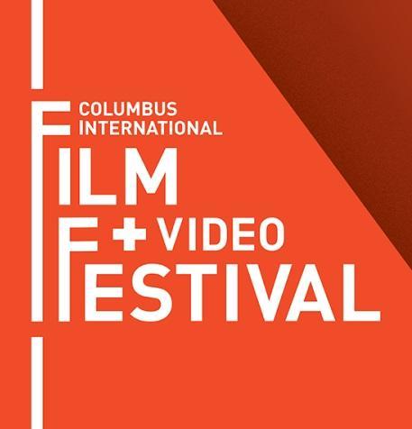 Orange background and words Columbus International Film + Video Festival