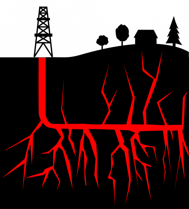 Black and red image of the ground on top with a fracking tower, trees and a house and below red lines branching out underneath