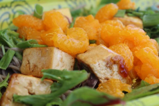 Mandarine Salad with Tofu and Sesame Ginger Dressing