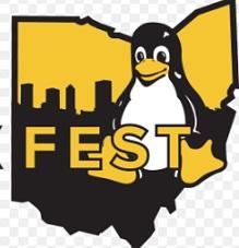 Cartoon of Penguin on top of a map of the state of Ohio with the word FEST in front of it